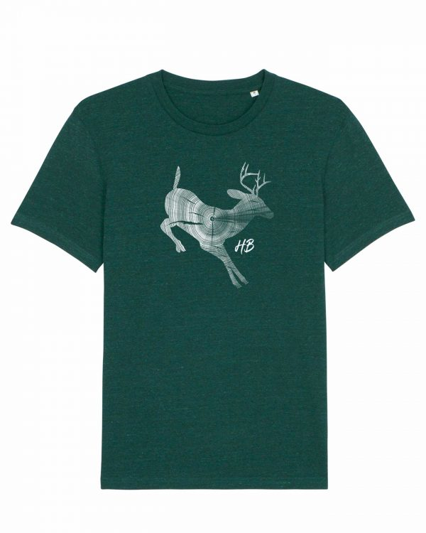 Hirsch Jahresringe - Herren T-Shirt - Dunkelgrün Gesprenkelt - 3XL