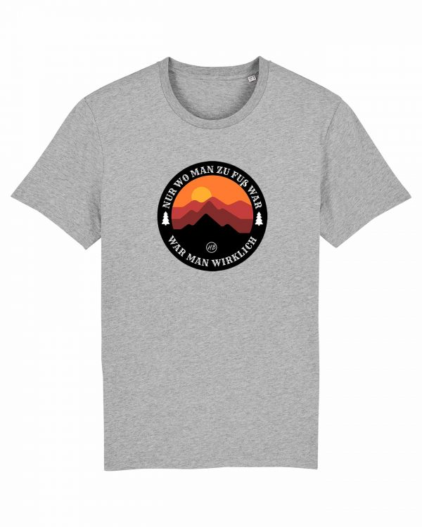 Wanderzeit - Herren T-Shirt - Hellgrau Gesprenkelt - 3XL