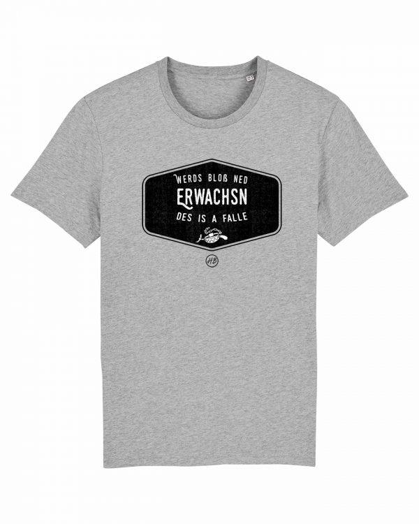 Werds Bloß Ned Erwachsn - Herren T-Shirt - Hellgrau Gesprenkelt - 3XL