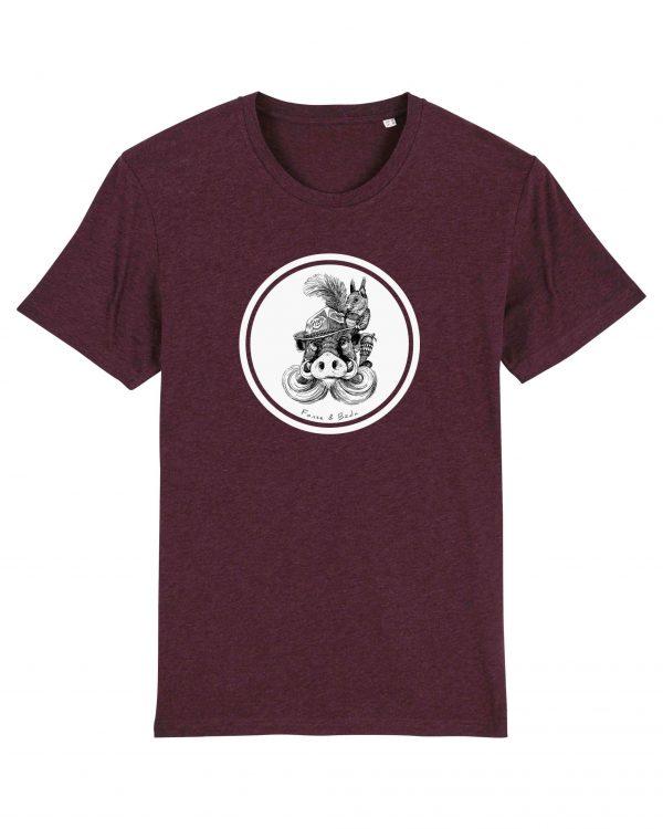 Fonse & Bäda - Herren T-Shirt - Weinrot Gesprenkelt - 3XL