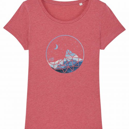 Auffe aufn Berg - Damen T-Shirt - Himbeerrot Gesprenkelt - XXL