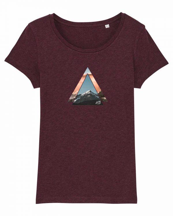 Bergzeit - Damen T-Shirt - Weinrot Gesprenkelt - XXL