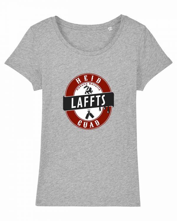 Heid Laffts Guad - Damen T-Shirt - Hellgrau Gesprenkelt - XXL