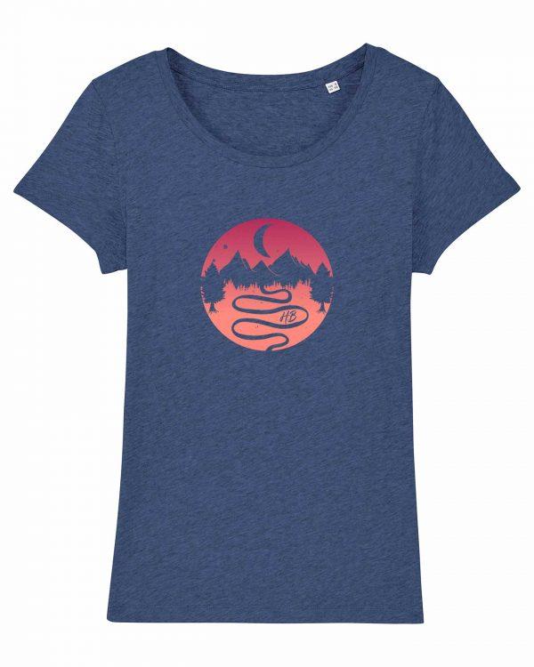 Heimatlandschaft - Damen T-Shirt - Blau Gesprenkelt - XXL