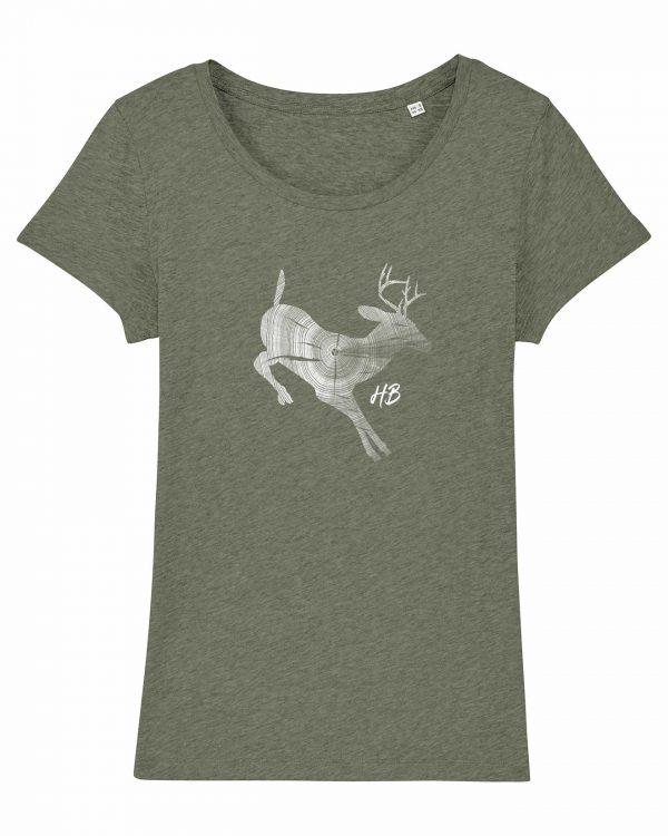 Hirsch Jahresringe - Damen T-Shirt - Moosgrün Gesprenkelt - XXL