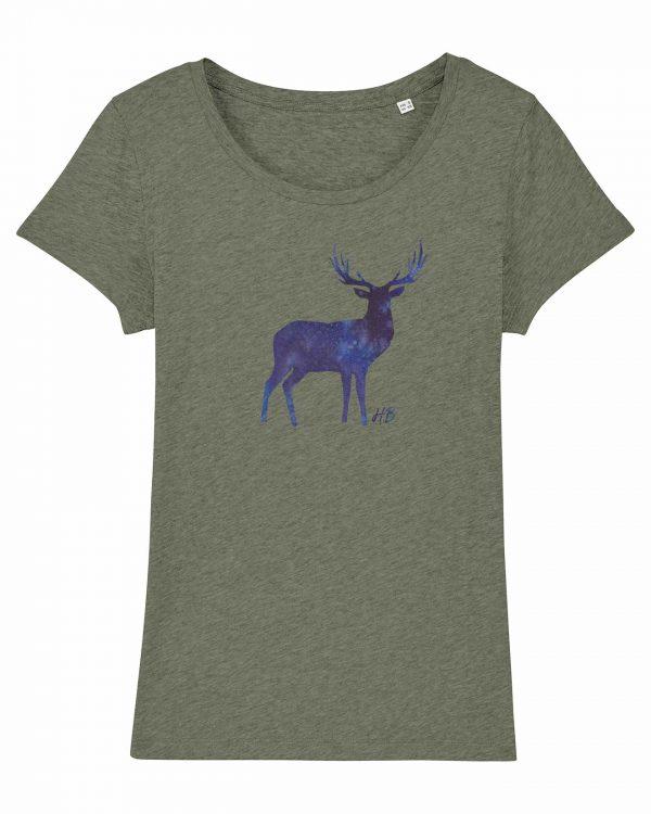 Hirsch Nachthimmel - Damen T-Shirt - Moosgrün Gesprenkelt - XXL