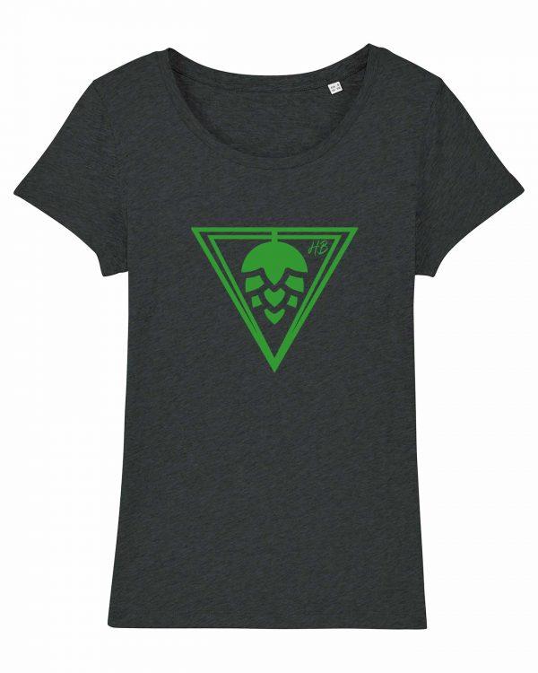 Hopfen-Dreieck - Damen T-Shirt - Dunkelgrau Gesprenkelt - XXL