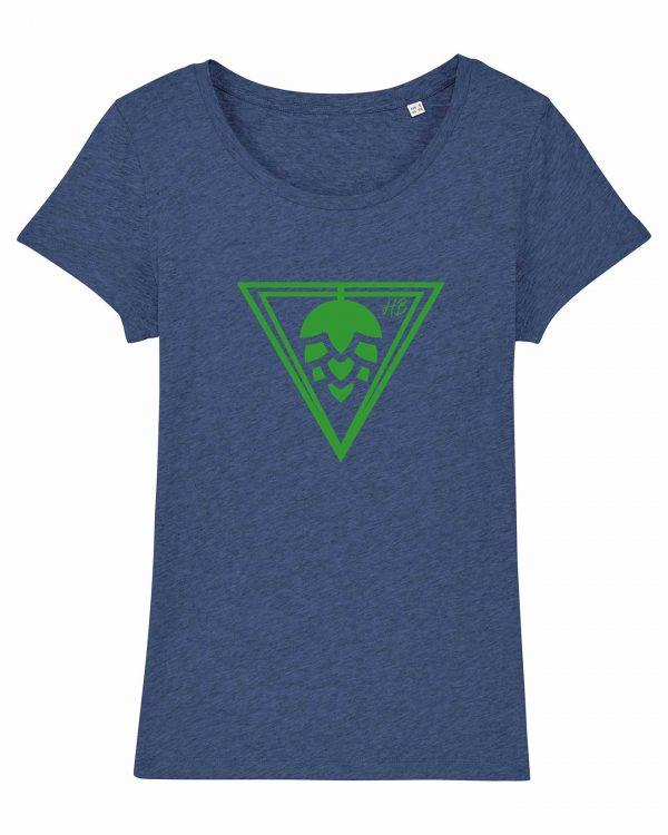 Hopfen-Dreieck - Damen T-Shirt - Blau Gesprenkelt - XXL