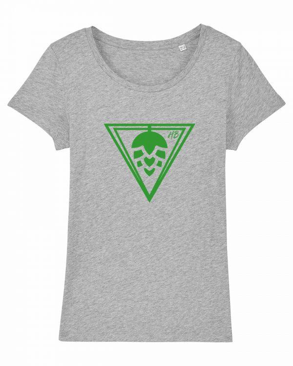 Hopfen-Dreieck - Damen T-Shirt - Hellgrau Gesprenkelt - XXL