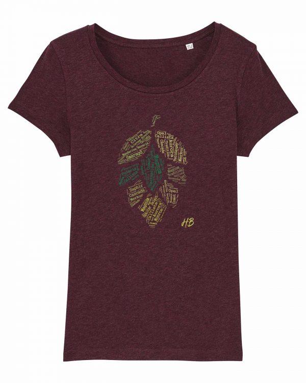Hopfensorten - Damen T-Shirt - Weinrot Gesprenkelt - XXL