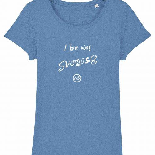 I Bin Wos Bsondas - Damen T-Shirt - Hellblau Gesprenkelt - XXL