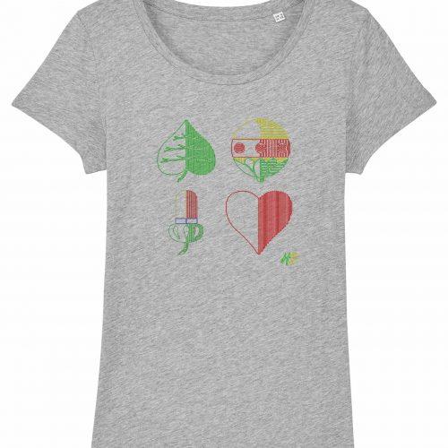 Kartln - Damen T-Shirt - Hellgrau Gesprenkelt - XXL