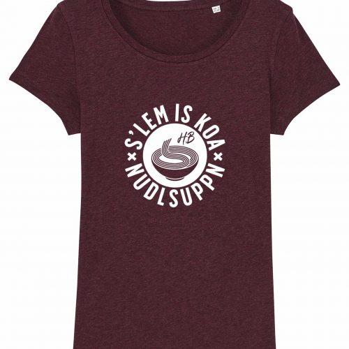 S'Lem Is Koa Nudlsuppn - Damen T-Shirt - Weinrot Gesprenkelt - XXL