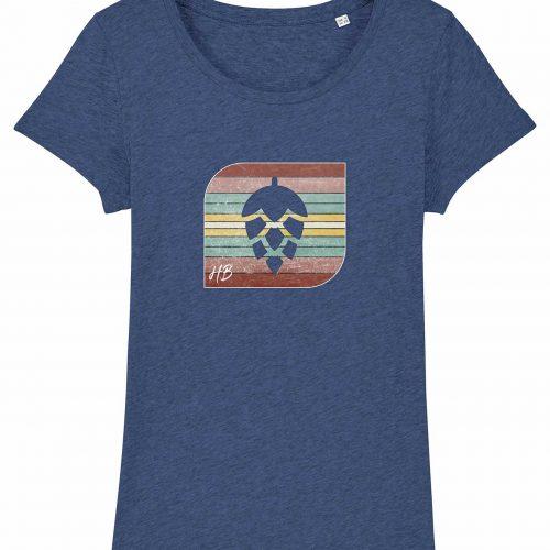 Retro-Hopfendolde - Damen T-Shirt - Blau Gesprenkelt - XXL
