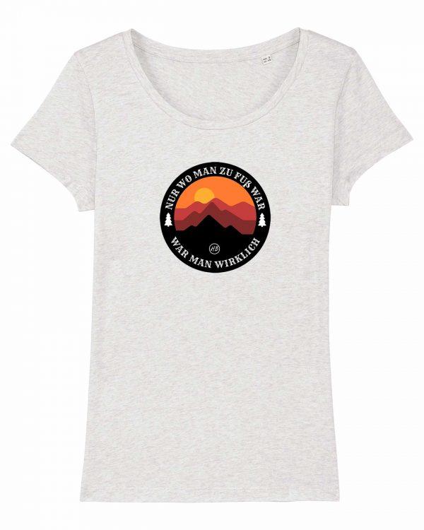 Wanderzeit - Damen T-Shirt - Weiß Gesprenkelt - XXL