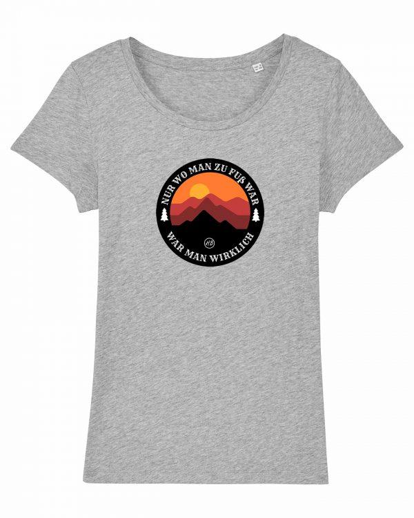 Wanderzeit - Damen T-Shirt - Hellgrau Gesprenkelt - XXL