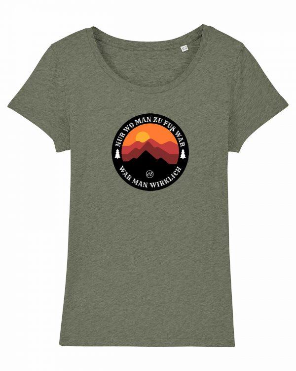 Wanderzeit - Damen T-Shirt - Moosgrün Gesprenkelt - XXL
