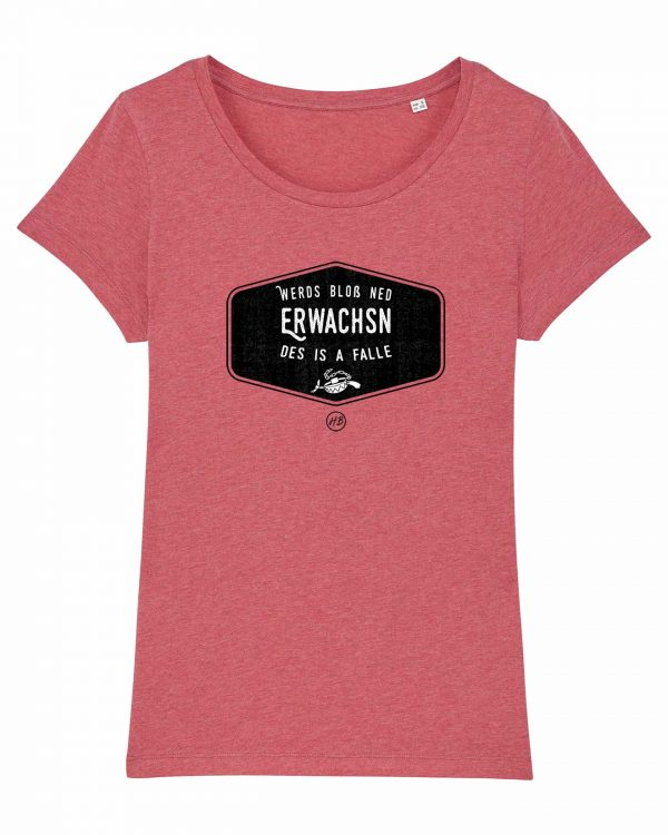 Werds Bloß Ned Erwachsn - Damen T-Shirt - Himbeerrot Gesprenkelt - XXL