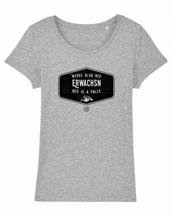Werds Bloß Ned Erwachsn - Damen T-Shirt - Hellgrau Gesprenkelt - XXL