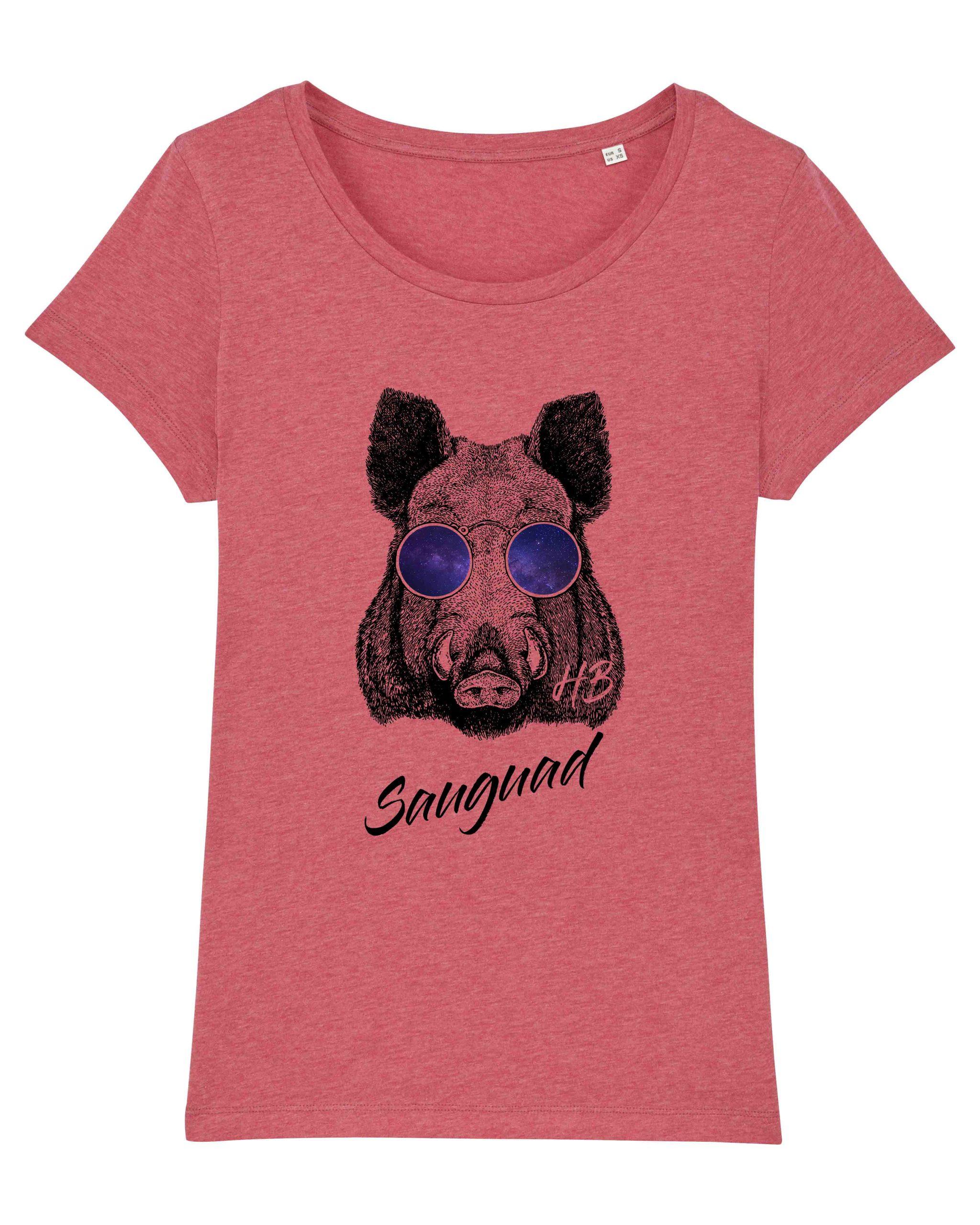 Sauguad - Damen T-Shirt - Himbeerrot Gesprenkelt - XXL