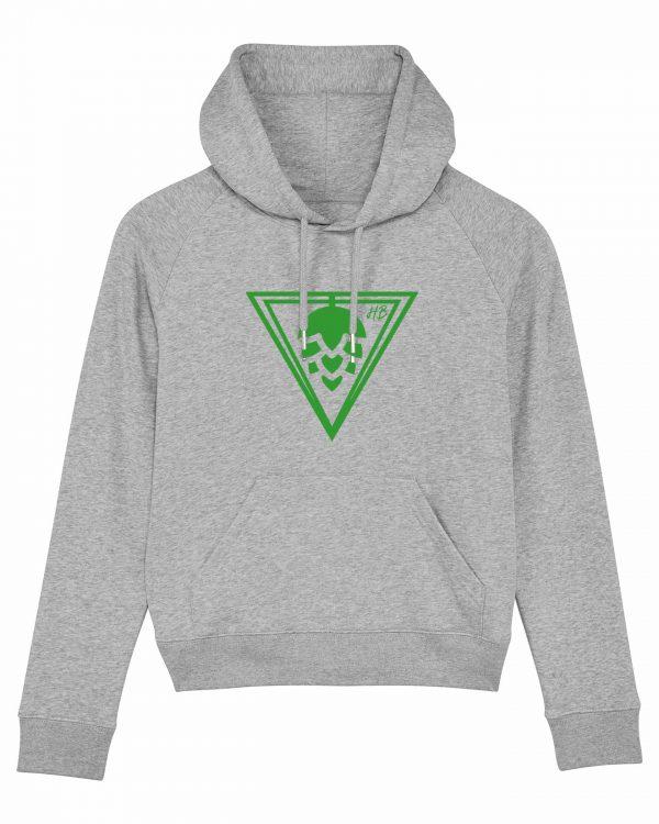 Hopfen-Dreieck - Damen Hoodie - Hellgrau Gesprenkelt - XXL