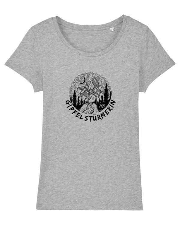 Gipfelstürmerin - Damen T-Shirt - Hellgrau Gesprenkelt - XXL