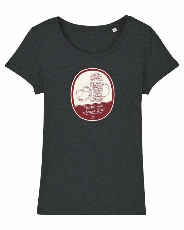 Brotzeit is de scheenste Zeit - Damen T-Shirt - Dunkelgrau Gesprenkelt - XXL