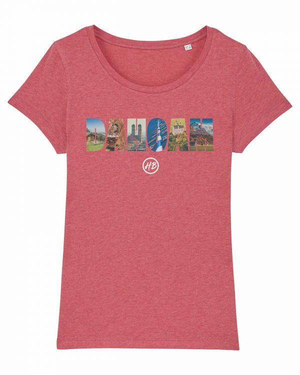 Dahoam - Damen T-Shirt - Himbeerrot Gesprenkelt - XXL