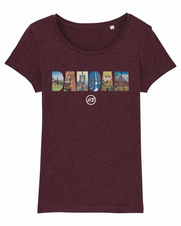 Dahoam - Damen T-Shirt - Weinrot Gesprenkelt - XXL
