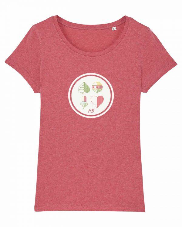 Kartnspuin - Damen T-Shirt - Himbeerrot Gesprenkelt - XXL