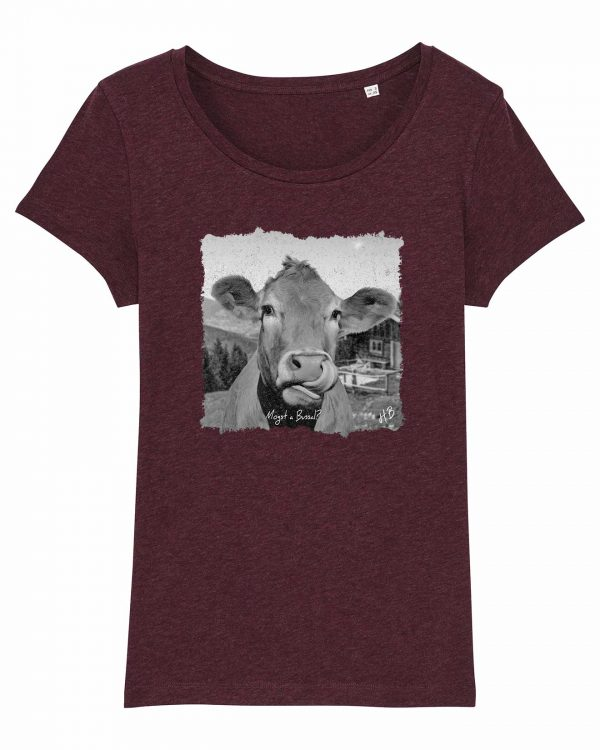 Mogst a Bussal - Damen T-Shirt - Weinrot Gesprenkelt - XL