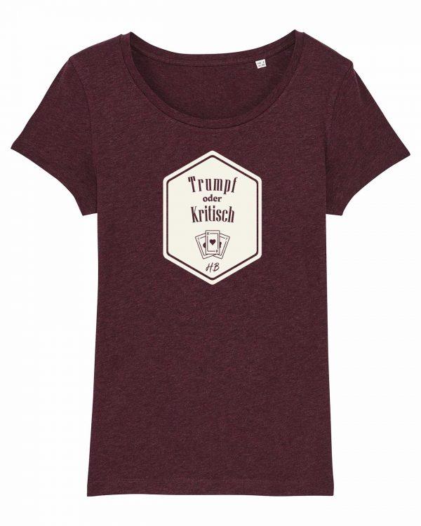 Trumpf oder Kritisch - Damen T-Shirt - Weinrot Gesprenkelt - XXL
