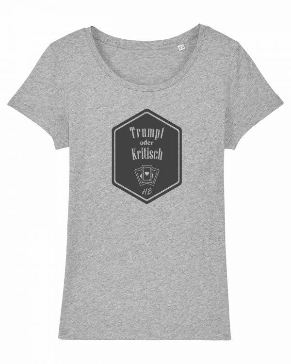 Trumpf oder Kritisch - Damen T-Shirt - Hellgrau Gesprenkelt - XXL