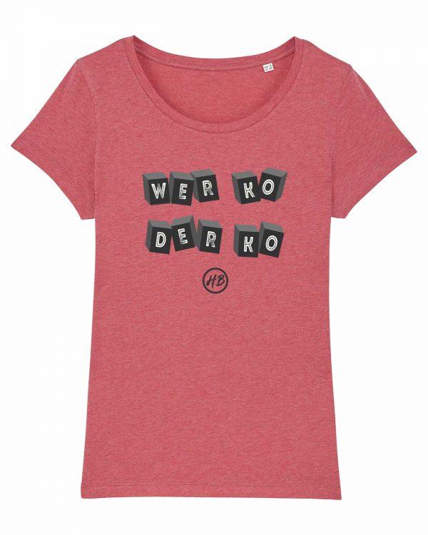 Wer Ko Der Ko - Damen T-Shirt - Himbeerrot Gesprenkelt - XXL