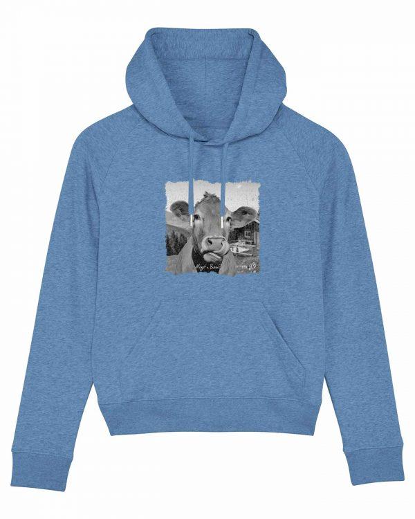 Mogst a Bussal - Damen Hoodie - Hellblau Gesprenkelt - XL