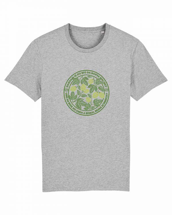 Dahoam Is Do Wo Da Hopfa Wachst - Herren T-Shirt - Hellgrau Gesprenkelt - 3XL