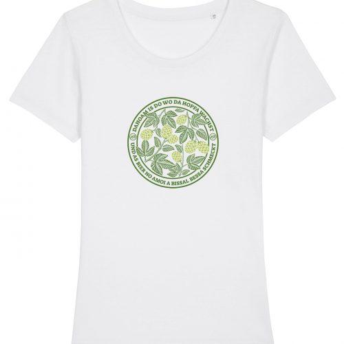 Dahoam Is Do Wo Da Hopfa Wachst - Damen T-Shirt - Weiß - XXL