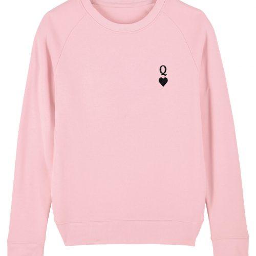 Herz-Dame Stickmotiv - Damen Pulli - Pink - XL