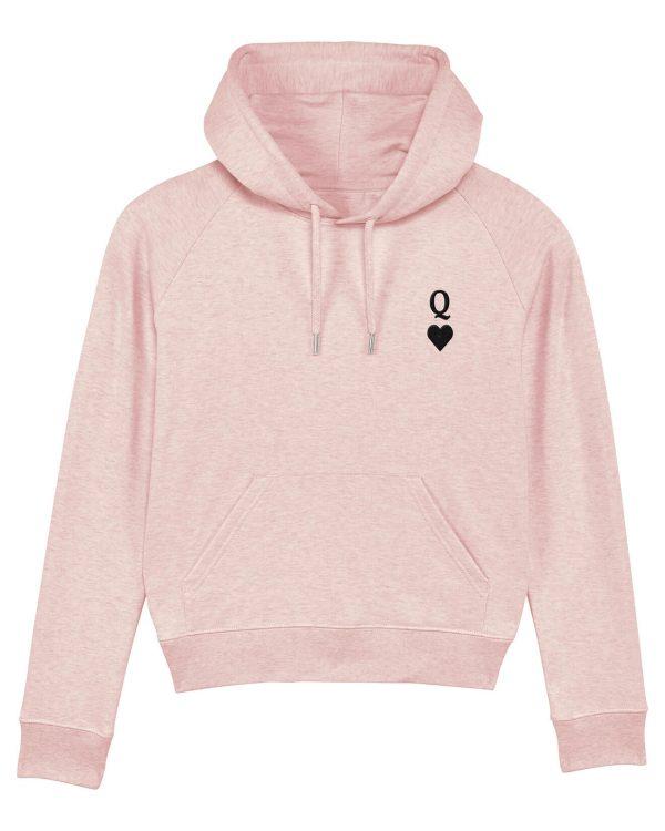 Herz-Dame Stickmotiv - Damen Premium Hoodie - Pink Gesprenkelt - XL