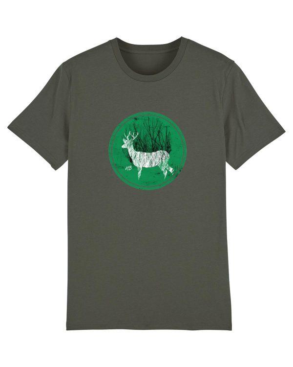 Hirsch im Wald - Herren Premium T-Shirt - Khaki - 3XL
