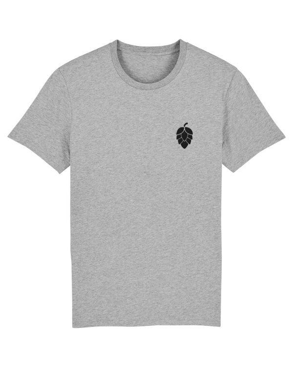 Hopfendolde Stickmotiv - Herren Premium T-Shirt - Hellgrau Gesprenkelt - 3XL