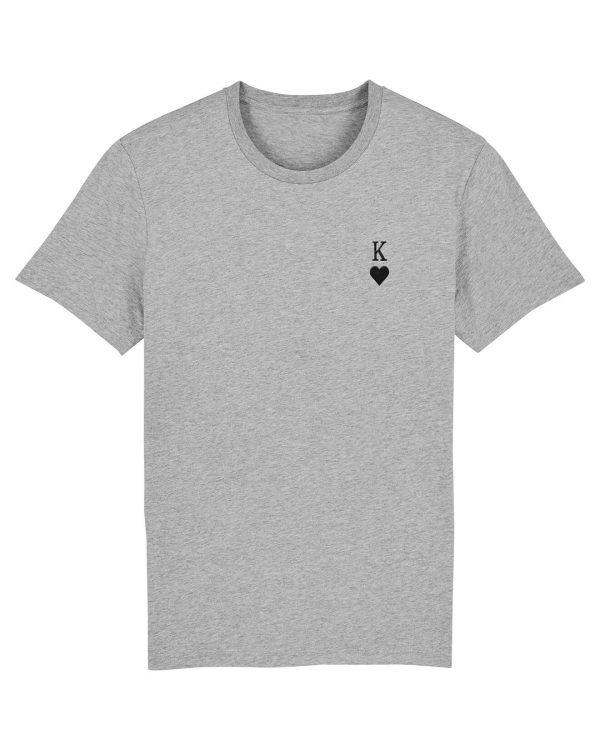 Herz-Kine Stickmotiv - Herren Premium T-Shirt - Hellgrau Gesprenkelt - 3XL
