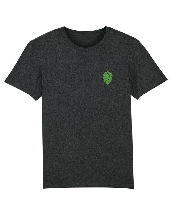 Hopfendolde Stickmotiv - Herren Premium T-Shirt - Dunkelgrau Gesprenkelt - 3XL