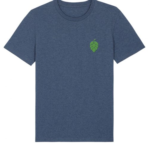 Hopfendolde Stickmotiv - Herren Premium T-Shirt - Dunkelblau Gesprenkelt - XXL