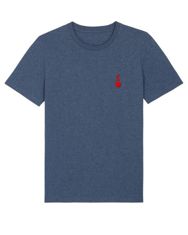 Herz-Kine Stickmotiv - Herren Premium T-Shirt - Dunkelgrau Gesprenkelt - XXL