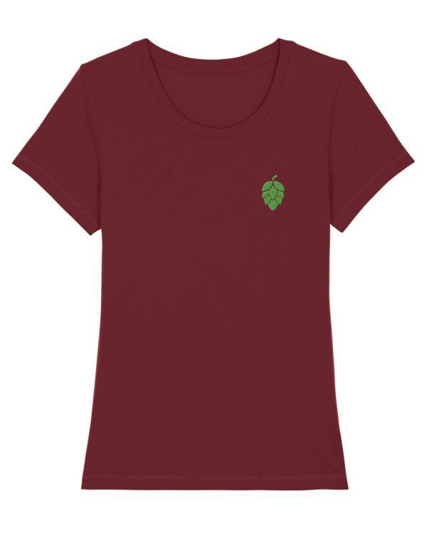 Hopfendolde Stickmotiv - Damen Premium T-Shirt - Dunkelrot - XXL
