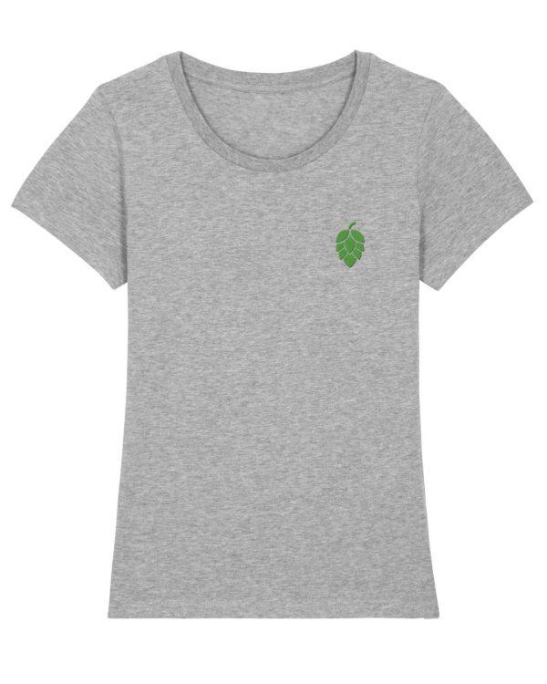 Hopfendolde Stickmotiv - Damen Premium T-Shirt - Hellgrau Gesprenkelt - XXL
