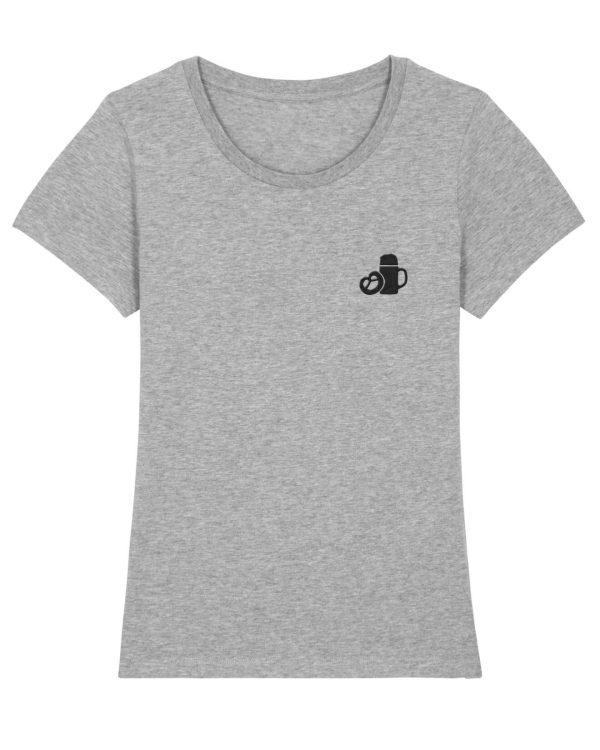 Maßkrug & Breze Stickmotiv - Damen Premium T-Shirt - Hellgrau Gesprenkelt - XXL