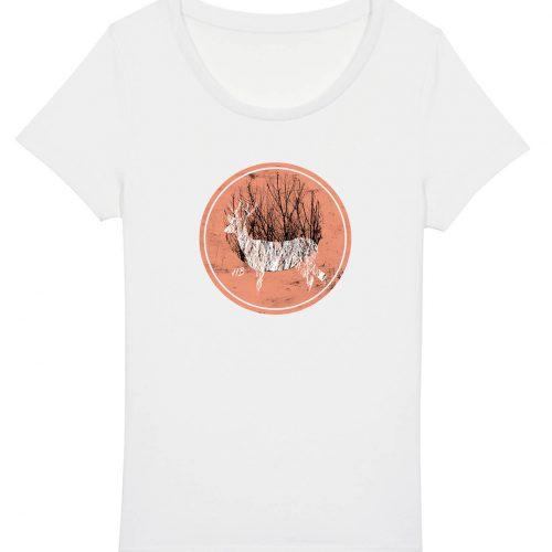 Hirsch im Wald - Damen Basic T-Shirt - Weiss - XXL