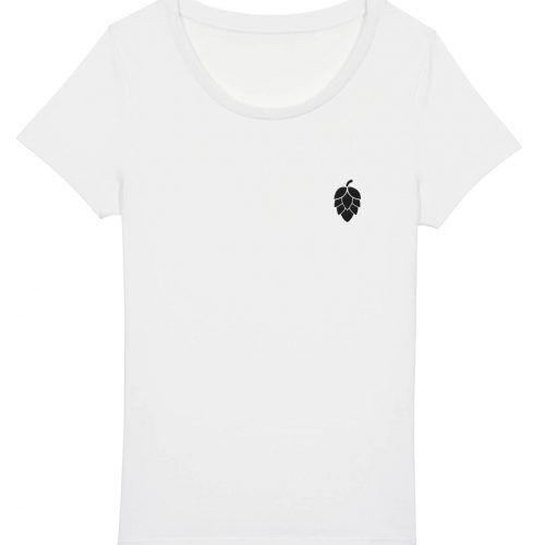 Hopfendolde Stickmotiv - Damen Basic T-Shirt - Weiß - XXL